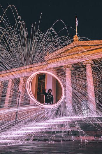 Digital composite image of light trails at night