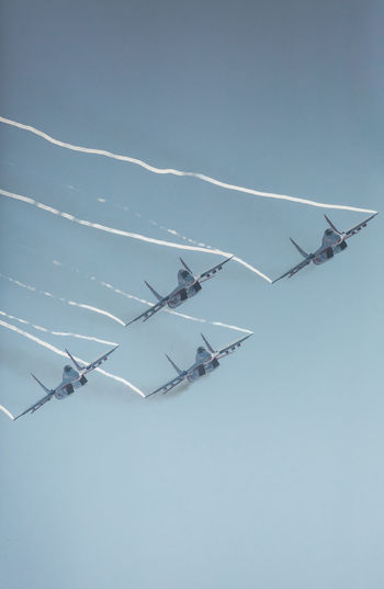 Air Force Air Vehicle Airplane Airshow Army Day Fighter Plane Flying MIG 29 Military No People Outdoors Russian Knight Sky Su-27 Technology Vapor Trail War