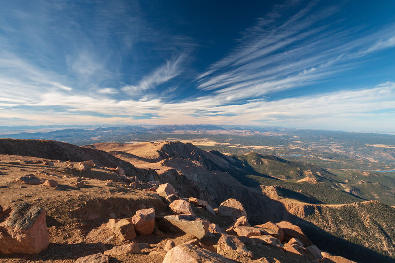 Scenic view to colorado landscape in direction northwest seen from top of pikes peak against sky