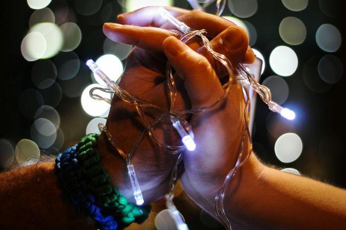 Human Hand Illuminated Women Popular Music Concert Defocused Nightlife Close-up