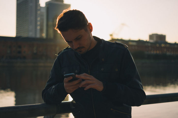 Argentina Boy City Focus On Foreground IPhone Leather Leather Jacket Lifestyle Man Smartphone Sunset Texting Travel Vacation VSCO Vscocam Young
