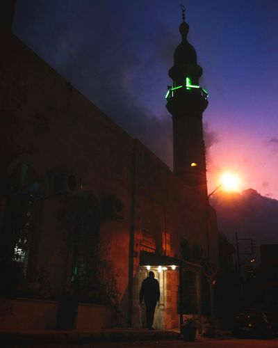 living the life of a saint Mosque Believer Light And Shadow Dark Low Key Green Light Bokehkillers Exklusive_shot Moodygrams Peoplescreatives Amman Jordan Night History Architecture Clock Tower Outdoors Building Exterior No People Illuminated Travel Destinations City Sky