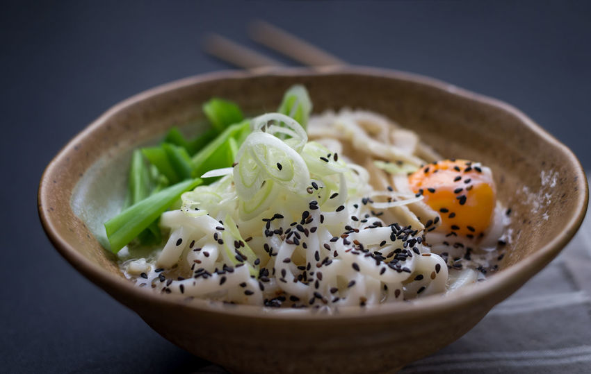 Japanese Food Udon Noodles Bowl Close-up Day Focus On Foreground Food Food And Drink Freshness Healthy Eating Indoors  No People Noodle Soup Ready-to-eat Sesame Seed