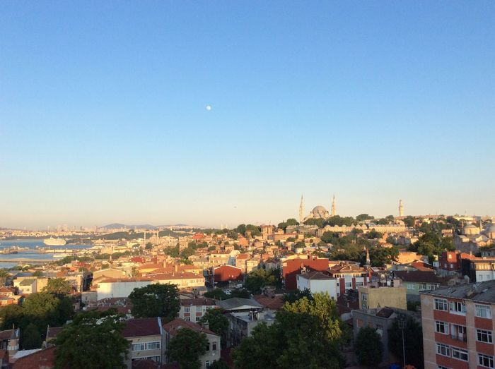 A view from the historical center of Istanbul over Hagia Sophia. Architecture Building Exterior Built Structure City Cityscape Clear Sky Day Dome Hagia Sophia High Angle View Historical Center Illuminated No People Outdoors Residential Building Sky Travel Destinations