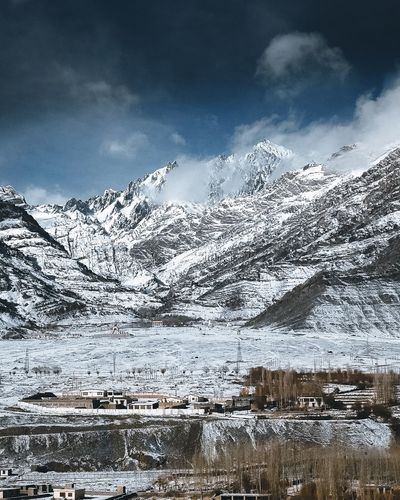 Somewhere in Himalayas. Snow Mountain Cold Temperature Winter Sky Nature Beauty In Nature Cloud - Sky Outdoors Scenics Mountain Range Weather No People Tranquil Scene Tranquility Snowcapped Mountain Day Landscape Frozen Water Shades Of Winter