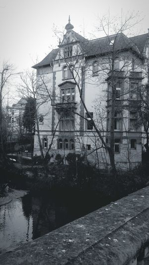 View from the bridge Historical Building Weser Renaissance Students Club Verbindung 19thcentury Braunschweig Brunswick Black And White Photography River