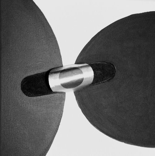 @ Ernesto Galizia Contemporary Art Painting Black And White Circle Double Vision