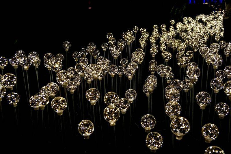 Black Background Illuminated Christmas Decoration Celebration Shiny Love Heart Shape Full Frame Lighting Equipment Glowing