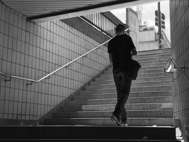 Frankfurt am Main, Eschenheimer Turm Blackandwhite Silhouette Catching The Moment Urban Underground Urban Geometry Frankfurt Am Main City Life Full Length Real People Architecture One Person Walking Lifestyles Staircase The Street Photographer - 2018 EyeEm Awards Architecture Steps And Staircases Motion
