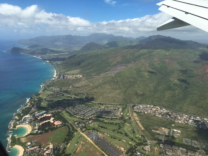 Aloha Sea Aerial View Transportation Airplane Landscape Water Scenics Hawaii Aloha Alohastate Mountain Travel Tranquil Scene High Angle View Travel Destinations Journey Flying Sky Beauty In Nature Idyllic Air Vehicle Wide