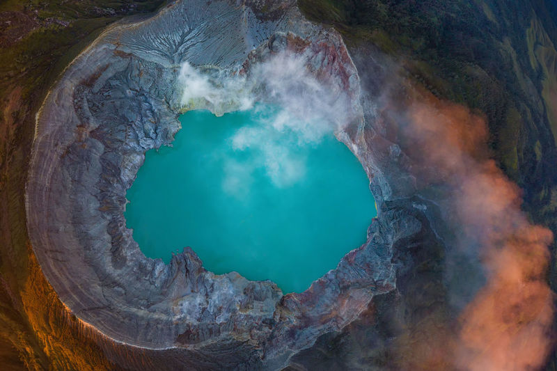 High angle view of hot spring in volcanic crater