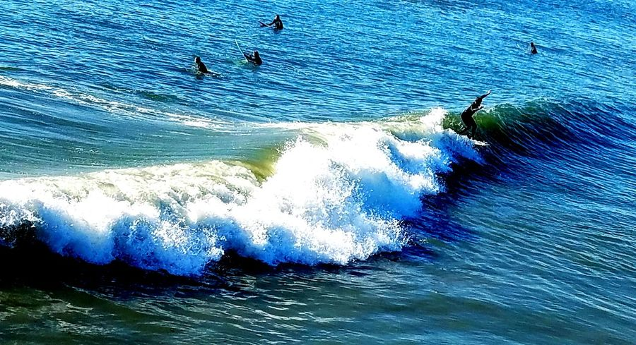 Sea Wave Water Extreme Sports Adventure Surfing Real People Leisure Activity Nature Motion Skill  Sport Outdoors Aquatic Sport Day Men Beach Beauty In Nature Power In Nature Sky Copy Space Check It Out Pattern Design Beauty In Nature EyeEm Best Shots - Nature