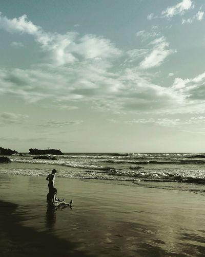 Loneliness Sea America Mochilero Poneloya, Nicaragua Children Child Nostalgic  Nostalgia Light Afternoon Sunset Colors Beach Sea And Sky