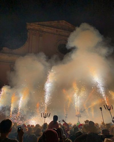 Correfoc Vilanova I La Geltru Pirotecnia Tradició Cultura Catalunya Correfoc Group Of People Event Celebration Illuminated Night Arts Culture And Entertainment Real People