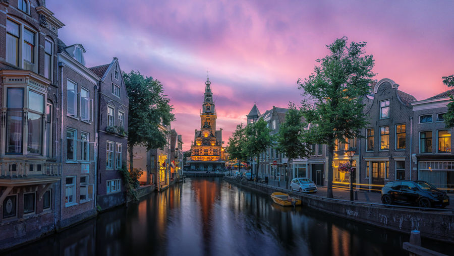 Netherlands Alkmaar Architecture Building Building Exterior Built Structure Canal City Cloud - Sky De Waag Dusk Dutch Illuminated Mode Of Transportation Nature No People Outdoors Plant Reflection Sky Transportation Tree Water Waterfront