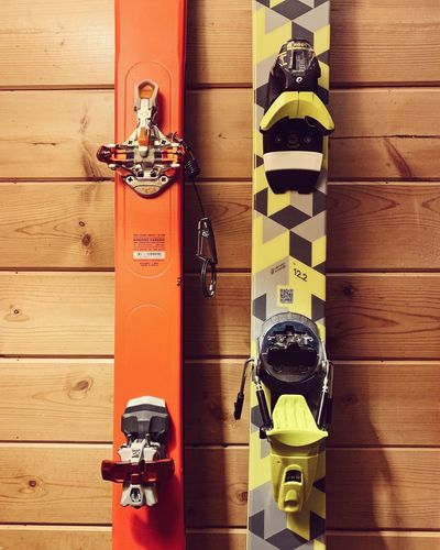 nerding-out with color coordination in mind. 🍊🍋 Skiing Skis Utah No People Wood - Material Day Safety High Angle View Protection Security