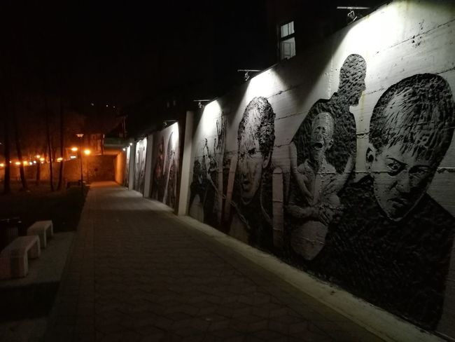 Mural in Visoko, made in honor of Srebrenica genocide victims. Illuminated City The Way Forward Tunnel Night No People Building Exterior Built Structure Bosnia And Herzegovina Visoko Old Town Bosniaandherzegovina Huaweip9photos HuaweiP9shots Huawei P9 Leica Leica Dual Camera Leicaphotography Srebrenica Genocide War Victims