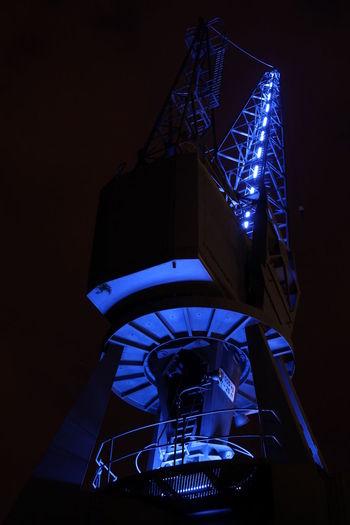 Blauer Kran Blue Port Hamburg Low Angle View Night No People Outdoors