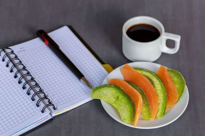 Coffee - Drink Coffee Cup Paper Book Note Pad Indoors  Office Hours Healthy Eating Food Breakfast Ready-to-eat Dryed Fruit Snack Office Vegetarian Food Healthy Lifestyle Recipe Food And Drink Healthy Desk Notebook No People Day Freshness