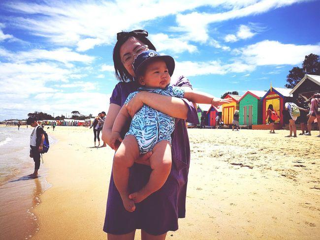 My Year My View Beach Sand Outdoors Sky Sea Mum And Son 2people Born In 2016 Brighton Beach Rainbow Bathing Box
