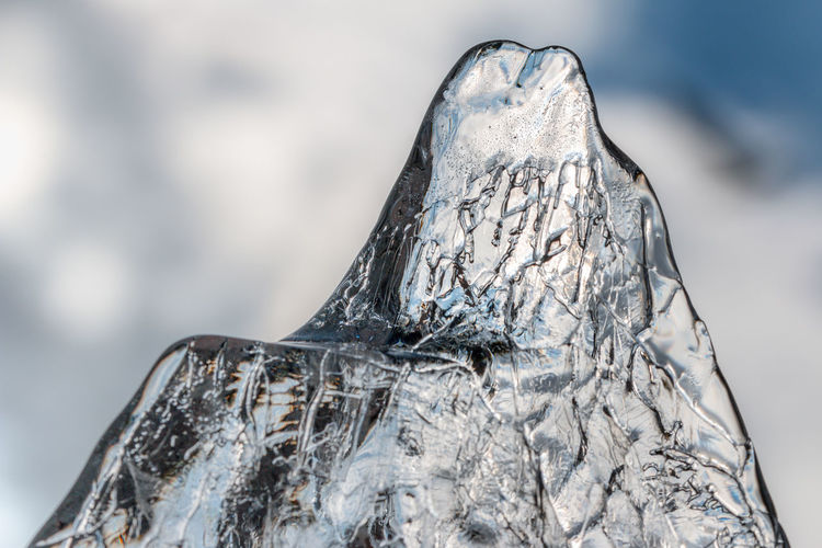 Close-up of block of clear ice