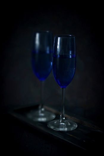 Blue wine glass Moody Photography Dark Photography Drinks Wineglass Wine Indoors  Alcohol No People Table Food And Drink EyeEmNewHere Food Stories