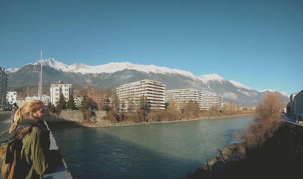 Nordkette vom Inn Innsbruck Tirol Innsbruck