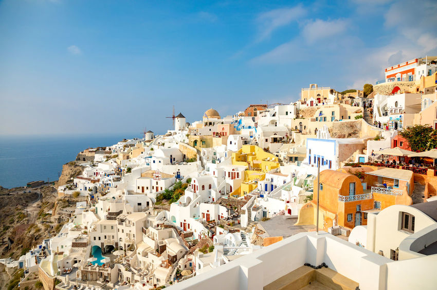 Greece Santorini Oia Thira Architecture Building Exterior Built Structure Building Sky City Residential District Nature Day Town No People Water House Sunlight Travel Destinations High Angle View Sea Outdoors Cityscape TOWNSCAPE