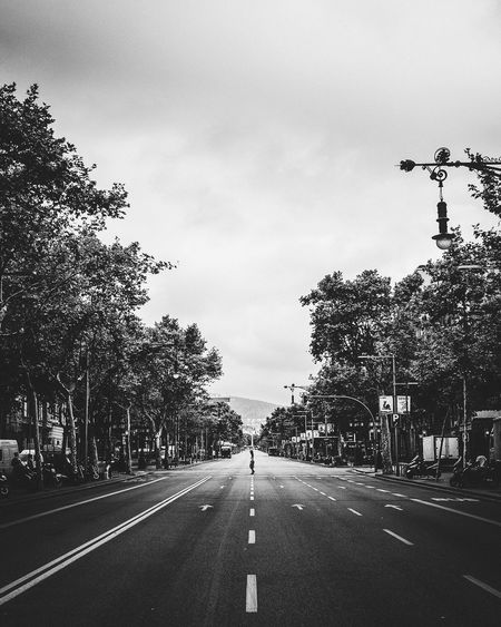 thank you stranger Cityscape City Human Solo Crossing Person Vanishing Point Barcelona Tree The Way Forward Road Transportation Road Marking Sky Diminishing Perspective