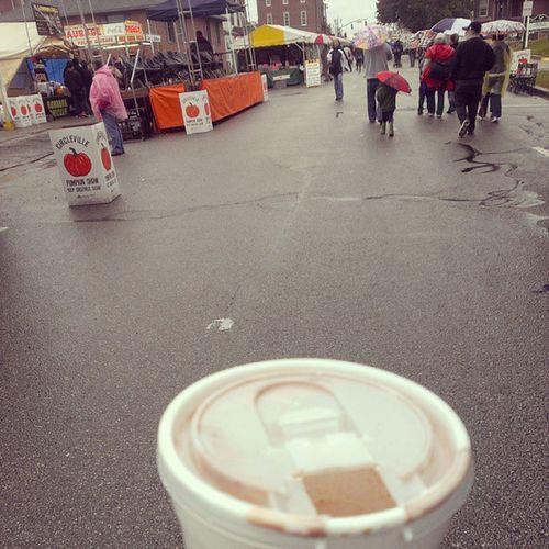 Pumpkinhotchocolate to combat the rain . Circlevillepumpkinshow