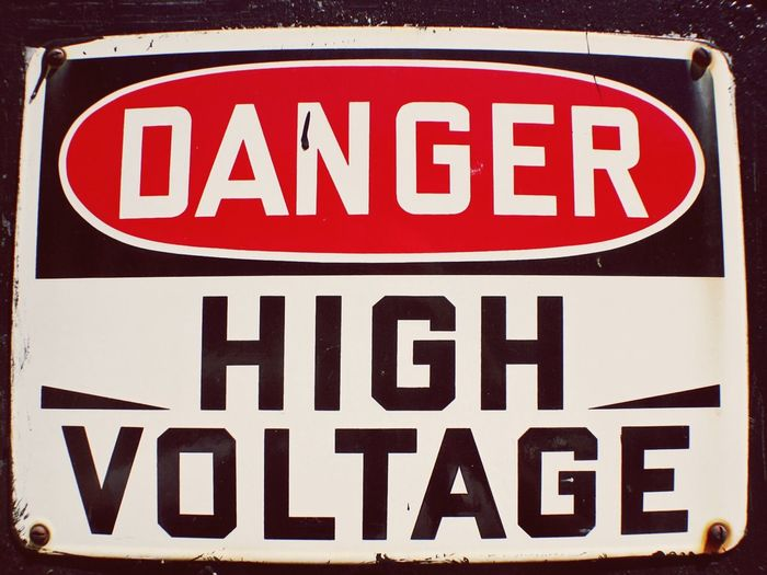 Warning Signs  High Voltage Vintage Signs Chemistry No People Industry Patina