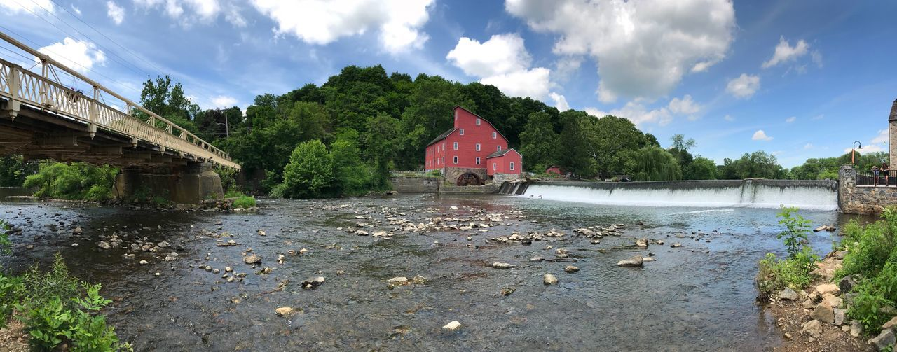 EyeEmNewHere New Jersey Photography Historical Building Iron Bridge River Raritan River Dam Red Mill Sky Cloud - Sky Water Nature Architecture Day Tree