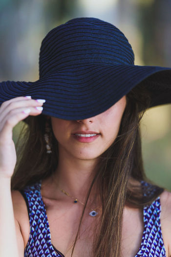 Classy Girl Casual Clothing Day Focus On Foreground Hat Headshot Human Face Lifestyles Long Hair Outdoors Portrait