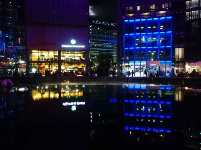 Sony center Reflection Night Architecture City Illuminated Modern Water Berlin Photography Berlin Mitte Discover Berlin Sony Center Berlin Sony Center Multi Colored Built Structure