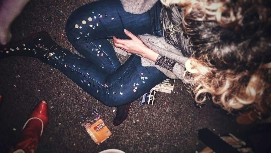 GO GETTEM' GIRL , A FRESH YEAR JUST BEGUN Women Newyears Newyork Cıgarettes Glitter Konfetti Curles Hair Style Party Design Vintage Folk Art Artist Red Boots Country Western Jeans Denim Smoking Indoors  Empire People