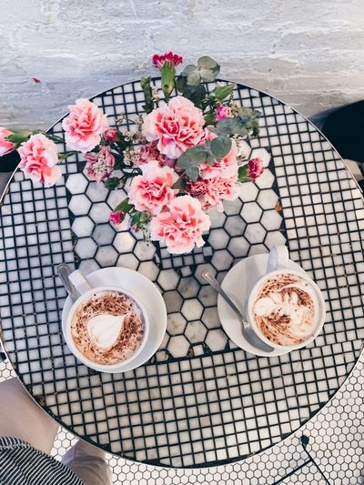 Freshness Flower High Angle View Flowering Plant Plant Food And Drink Nature Refreshment Cup Coffee Cup Pattern Beauty In Nature Coffee Day Drink Coffee - Drink Table No People Mug Food