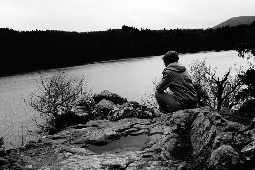One Person Sky Water Lonely Lonely Wanderer Lake Winter Afternoon Black And White Black & White Gour De Tazenat ThatsMe Auvergne Lonely Woman Lost In The Landscape A New Beginning