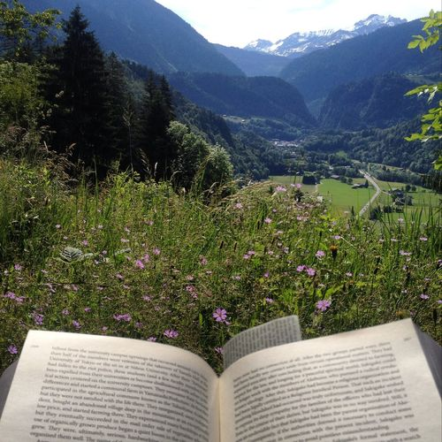 Beauty In Nature Book Day Flower Freshness Green Green Color Growth In Bloom Lush Foliage Majestic Mountain Mountain Range Nature No People Outdoors Plant Reading Remote Scenics Springtime Summer Tranquil Scene Tranquility Tree