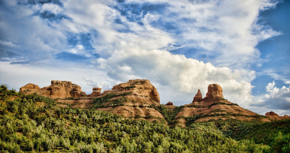 Low Angle View Of Rock Formations At Red Rocks State Park