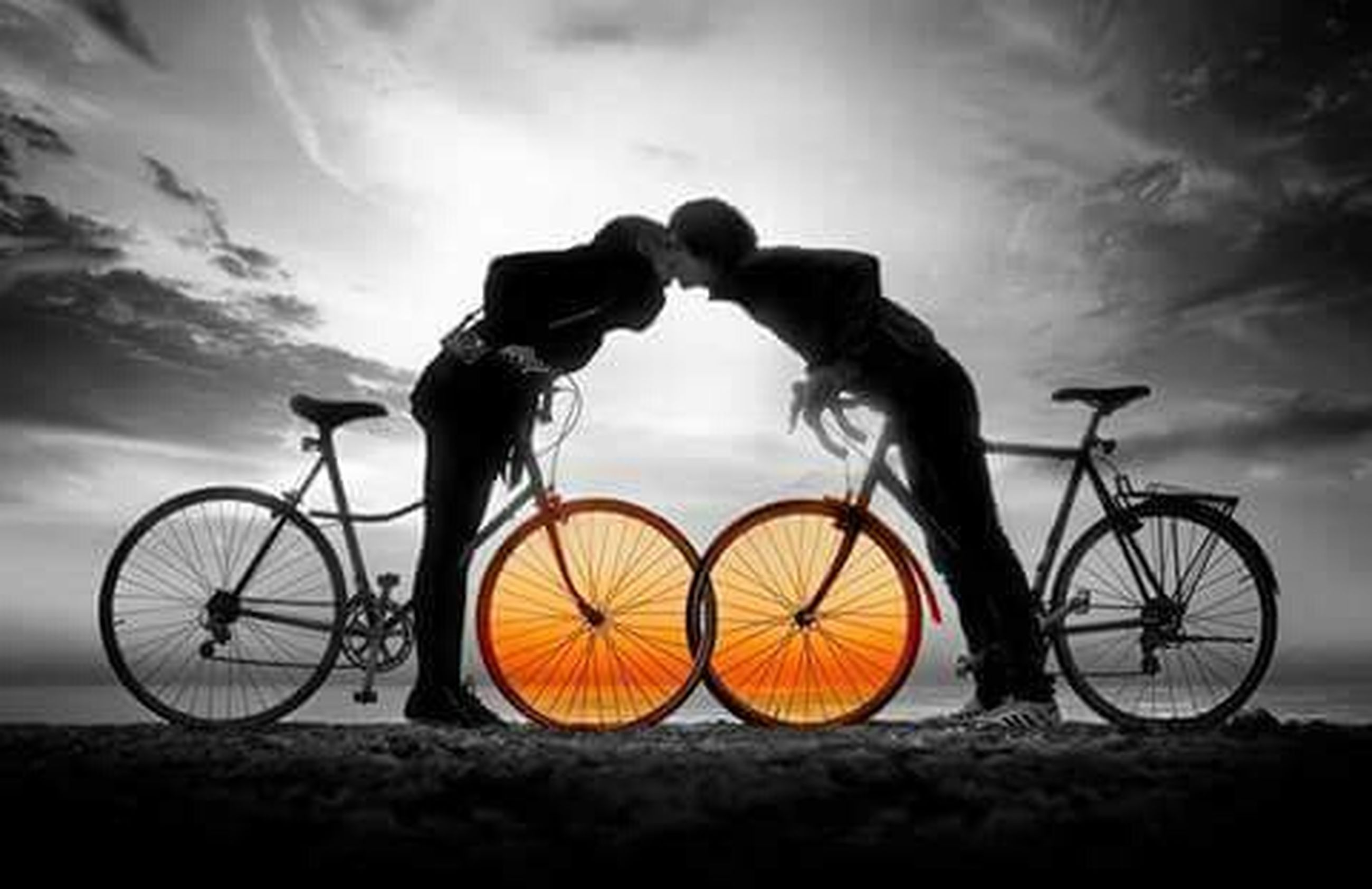 sunset, bicycle, sky, transportation, cloud - sky, mode of transport, silhouette, orange color, land vehicle, stationary, cloud, parking, yellow, railing, parked, metal, no people, dusk, outdoors, cloudy