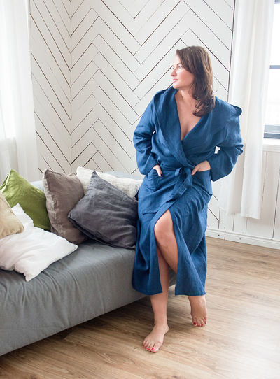 Beautiful Fashion Morning Woman Adult Background Beautiful Woman Bedroom Blue Day Dressing Gown Full Length Home Interior Indoors  Lifestyles Linen One Person People Portrait Real People Robe Sexywomen White Young Adult Young Women