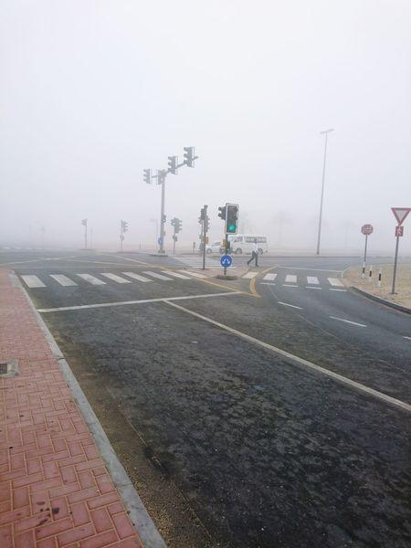 Dubai Foggy Morning Fog. Dubai Winter Winter Morning Traffic Lights Emirates