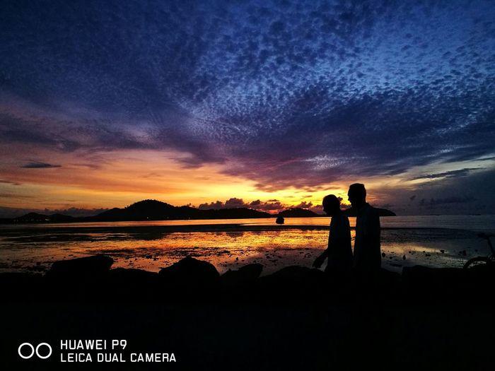 Beach Photography Silhouette Sunset Orange Color Sky Thailand Phuket Sea Coulourful Morning Light Cloud - Sky