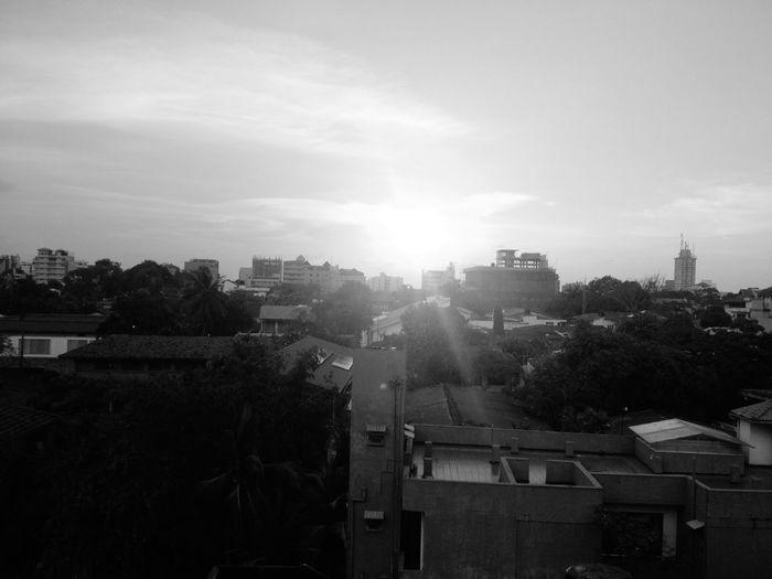 Sun setting in Black & White On A Break Sunset Sun Evening