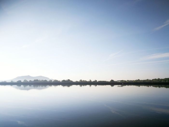 Lake Nature Reflection Outdoors Scenics Tranquility Clear Sky Mountain SkyMinimalism No People Blue Water Landscape Symmetry Beauty In Nature Day City