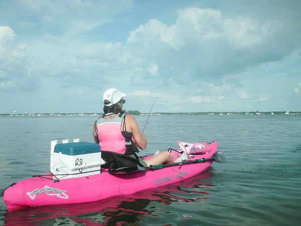 Florida Life Kayaker Fishing Sportswoman Kayak Fishing Pink Female Adult Weekend Activities Power Of Pink Kayaking Kayak Female Weekend Warrior Watersports Fisherman Weekend Warriors Florida Fishing People Real People