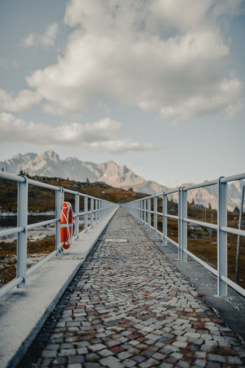 Architecture Barrier Built Structure Cloud - Sky Connection Day Diminishing Perspective Direction Long Mountain Nature No People Outdoors Railing Safety Sky The Way Forward Tranquility Transportation vanishing point