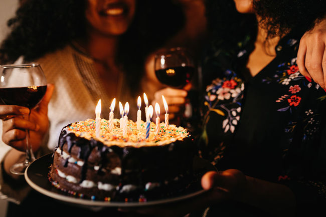 Friends Young Birthday Cake Candles Candle Celebration Close Up Enjoyment Flame Food