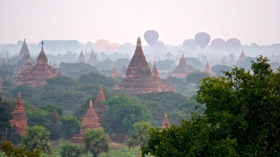 Bagan Balloons Over Pagodas In Bagan Cultures Famous Place Myanmar Place Of Worship Religion Spirituality Temple Temple - Building