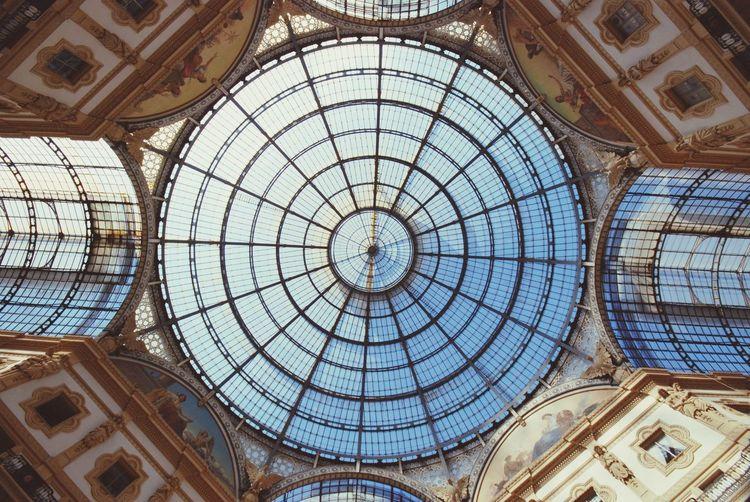 Directly Below View Of Cupola At Galleria Vittorio Emanuele Ii
